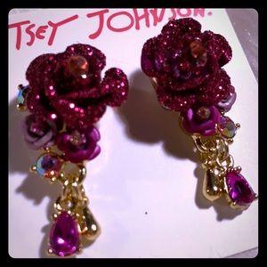 Betsey Johnson Sparkle Flower Earrings